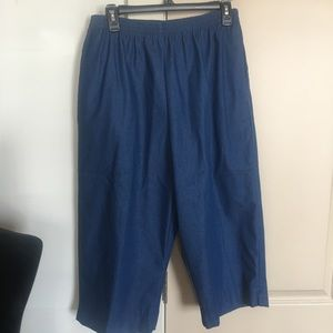 Blue crop elastic top pants by Alfred Dunner sz 16